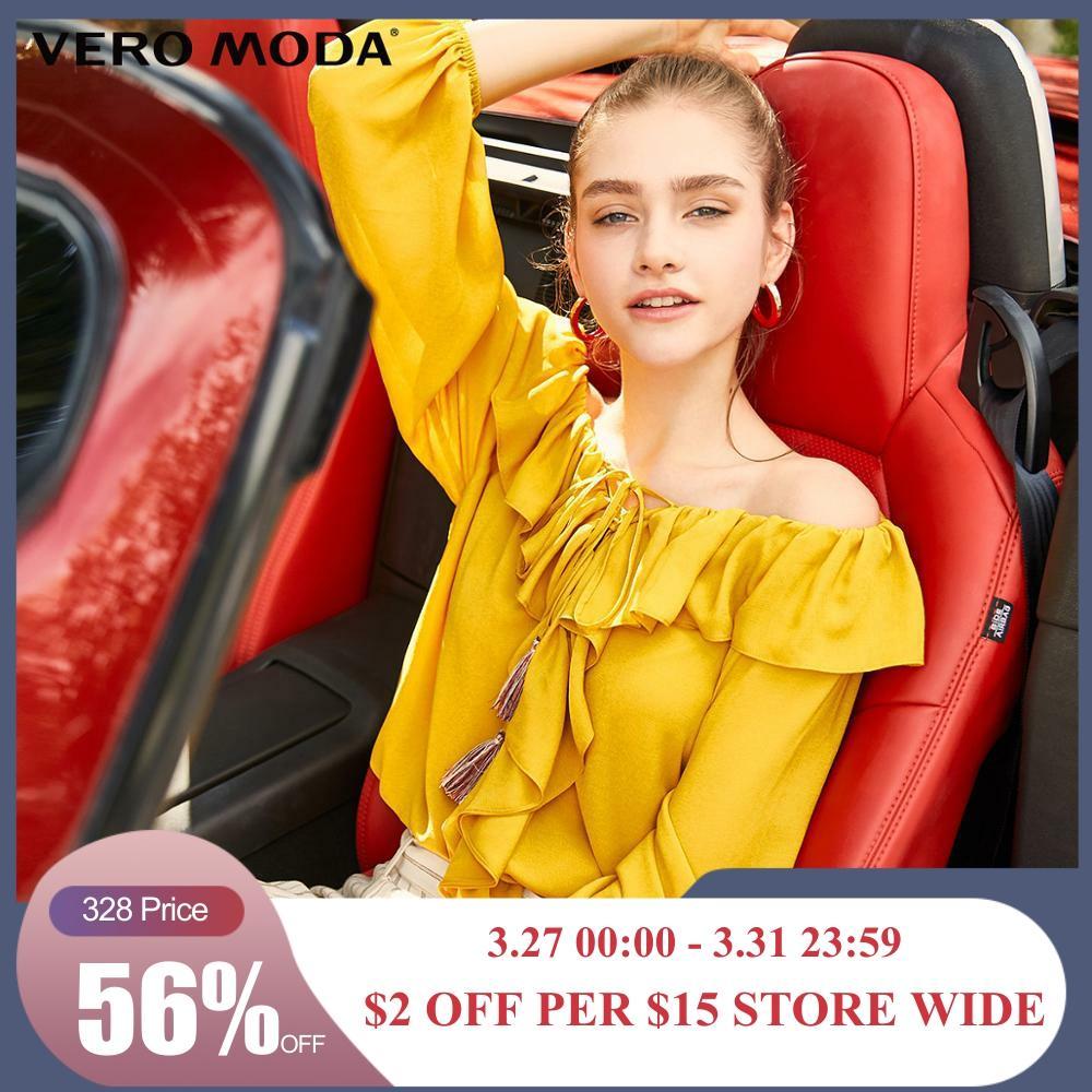 Vero Moda Women's Off-the-shoulder Ruffled Chiffon Blouse | 319158503