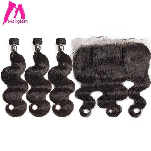 Insan saç demetleri ile frontal vücut dalga kısa doğal brezilya saçı uzatma örgü önceden koparıp siyah kadınlar için 3 demetleri