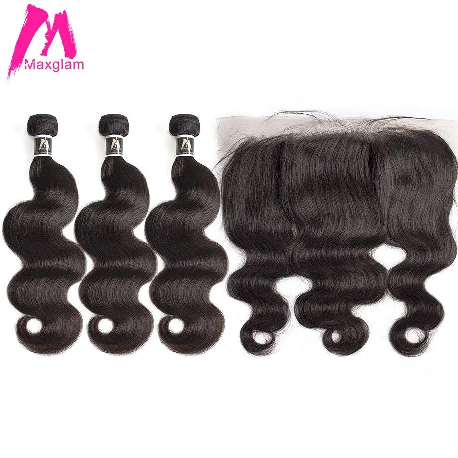 Body Wave Bundles With Frontal Remy Brazillian Hair Extension Bundles Preplucked Short Human Hair Weave 3 Bundles Black Women