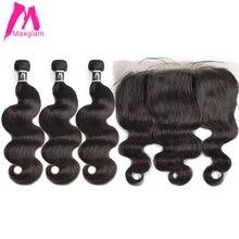 שיער טבעי חבילות עם פרונטאלית גוף גל קצר טבעי brazillian שיער הארכת מארג preplucked 3 חבילות עבור שחור נשים