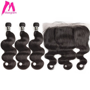 Image 1 - human hair bundles with frontal body wave short natural brazillian hair extension weave preplucked 3 bundles for black women