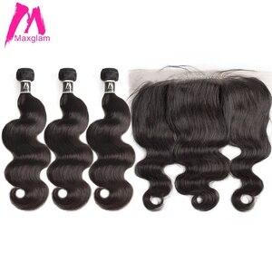 Image 1 - 人間の髪のバンドルフロントボディ波ショートナチュラルブラジルのヘアエクステンション織りpreplucked 3 バンドル黒人女性のための