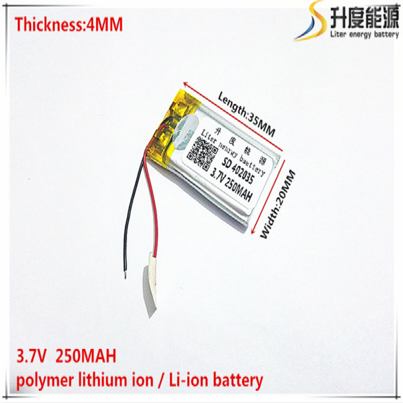 3.7V 250mAh <font><b>402035</b></font> Lithium Polymer Li-Po li ion Rechargeable <font><b>Battery</b></font> cells For Mp3 MP4 MP5 GPS mobile bluetooth image