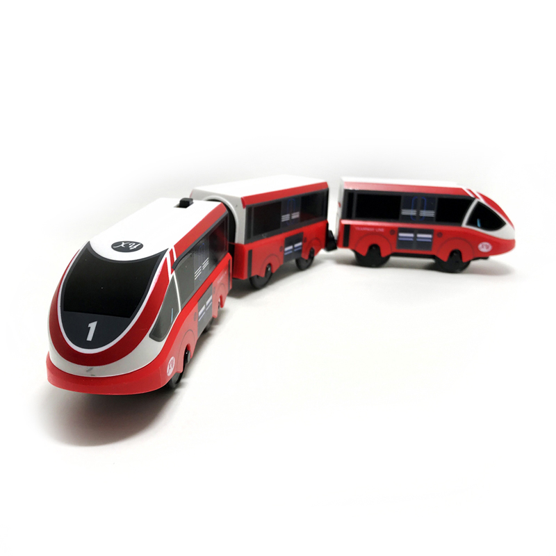 W-11  Gift Red Toy Train Electric Magnetic Locomotive Compatible Rail Toy Train Wooden Lane Set NEW