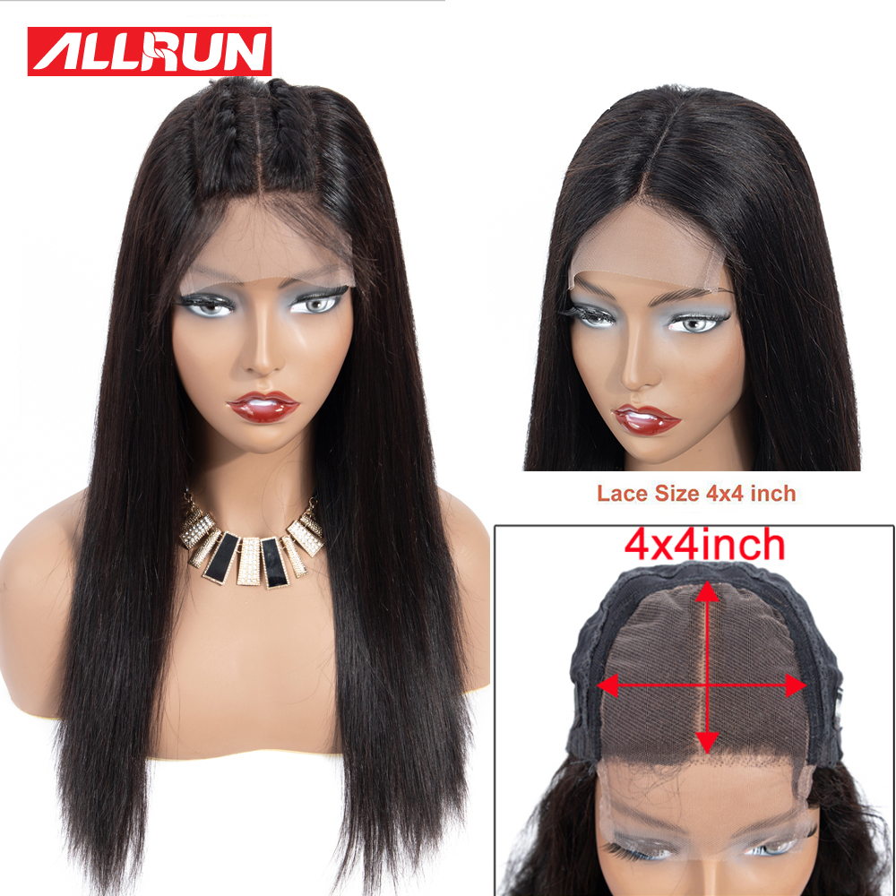 Brazilian 4x4 Lace Closure Wig Human Hair Wigs Straight Lace Wigs Per-Plucked With Baby Hair Non Remy Natural Hairline