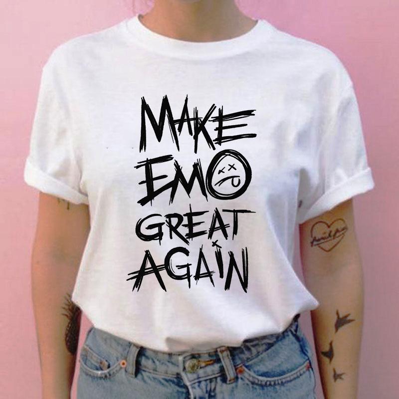 Make Emo Great Again Letter Print T-shirt E Girl Style Tshirt Gothic Vintage T Shirt Harajuku Kawaii Aesthetic Clothes Women(China)