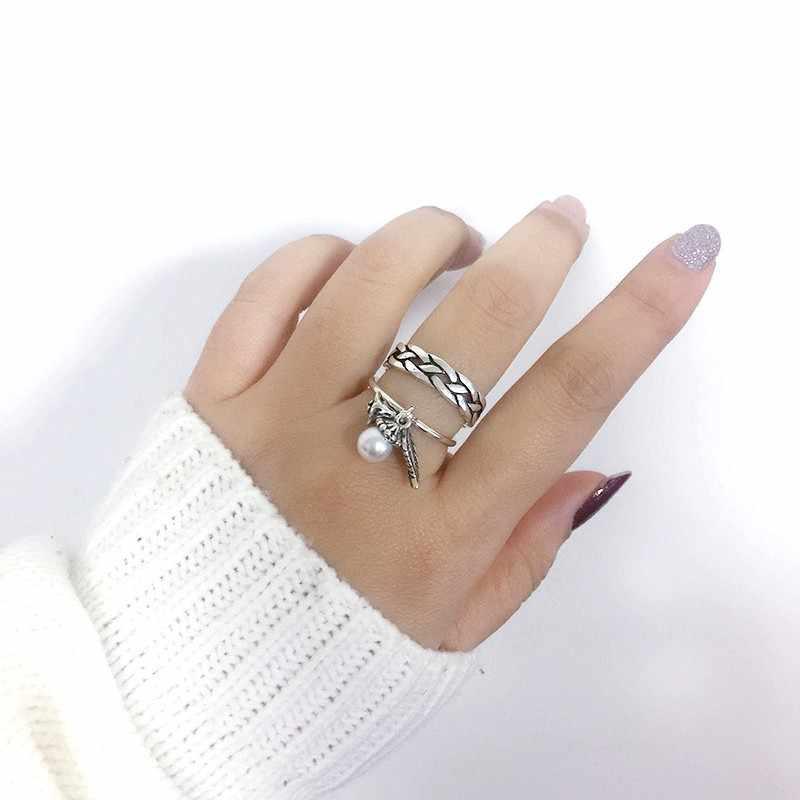 بسيطة الرجعية التايلاندية الفضة النسيج مؤشر حلقة قابل للتعديل خواتم مجوهرات للرجال النساء 925 فضة S-R360