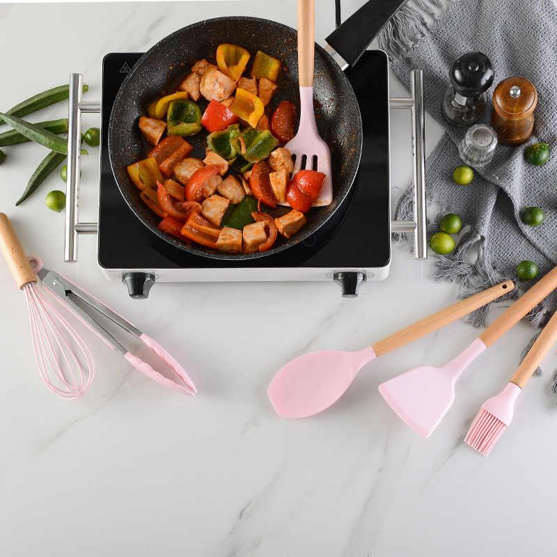 Warna Baru Panas Gaya Kayu Solid Menangani dengan Ember Berwarna Merah Muda Silikon Dapur 11 Pcs Memasak Alat Set Premium Silikon Dapur coo