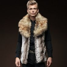 High Quality Mens Winter Faux Raccoon Fur Collar Warm Sleeveless Vest Slim Fit Warm Fur Thick Outwear Coats Male Waistcoat Vests(China)