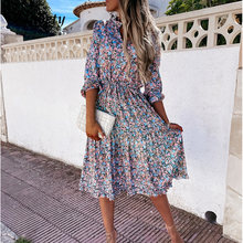 Women Elegant V-Neck High Waist Lace-Up Party Dress Vintage Floral Print Ruffles Dresses Spring Summer Long Sleeve Casual Dress