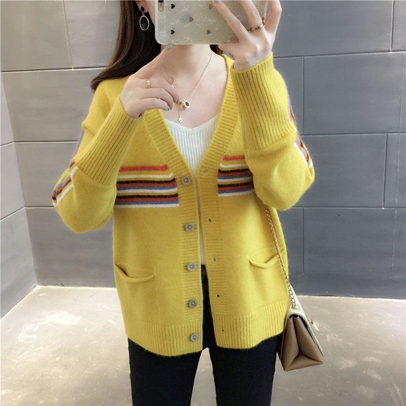 Women Loose Knitted Cardigan Sweater With Button Long Sleeve Autumn Female Casual V-Neck Open Stich Knit Outwear Coat Ladies