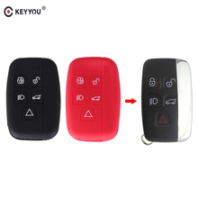 KEYYOU 5 Buttons Remote Car Key Fob Cover Smart Silicone Key Case For Land Rover Range Rover Sport Vogue Evoque Discovery 4