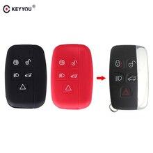 KEYYOU 5 버튼 원격 자동차 키 뚜껑 커버 랜드 로버 레인지 로버 스포츠 보그 Evoque 디스커버리 4 스마트 실리콘 키 케이스