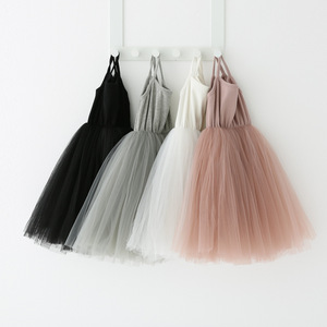 2020 Summer Kid Girl Solid Sling Tutu Dress Basic Style Toddler Girl White Pink Gray Black Layer Tutu Dresses Wedding Party Wear(China)