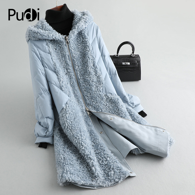 PUDI A59234 Women Winter Polyester Fabric Real Wool Fur Down Warm Jacket Small Camel Fur Girl Coat Lady Long Jacket Overcoat
