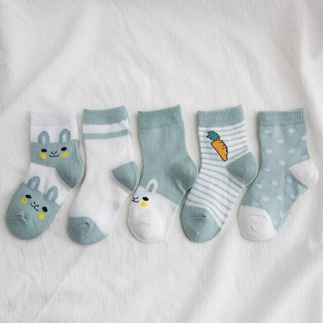 5Pairs/lot 0-9Y Kids Socks Summer Cotton Cartoon Animal Kids Socks Carrot Girls Mesh Cute Newborn Boy Toddler Children Socks 2