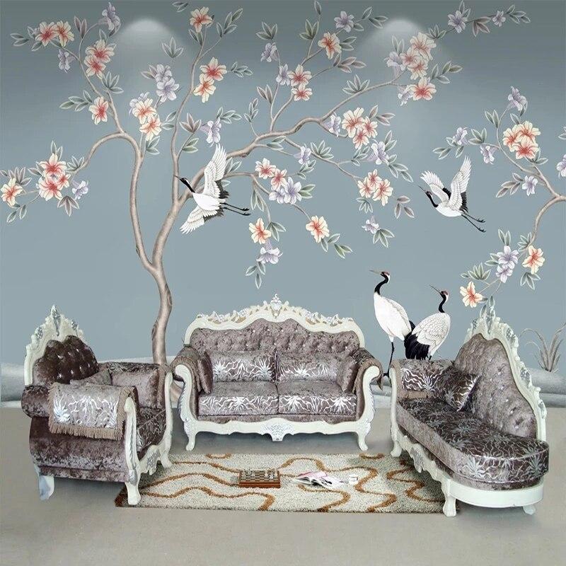 Самоклеящиеся 3D-обои на заказ, Классическая Настенная роспись с цветами, птицами, для гостиной, телевизора, дивана, домашний декор, водонепр...