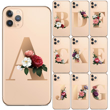 Letras de nome personalizado 26 inglês, capa inicial de flores para iphone 11 pro max x xs max xr 8 7 tampa de silicone para celular plus 6 6s