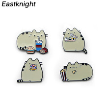 K378 Fashion jewelry Cute Cat Pins Enamel Brooches for Women Men Lapel pin Cartoon Metal Badge Collar Jewelry Gifts 1pcs