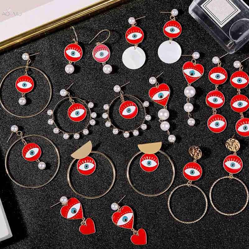 Aomu senhora exagero coração vermelho lábios brincos geométrico longo gota balançar brinco para mulheres evil eyes brincos pérola jóias