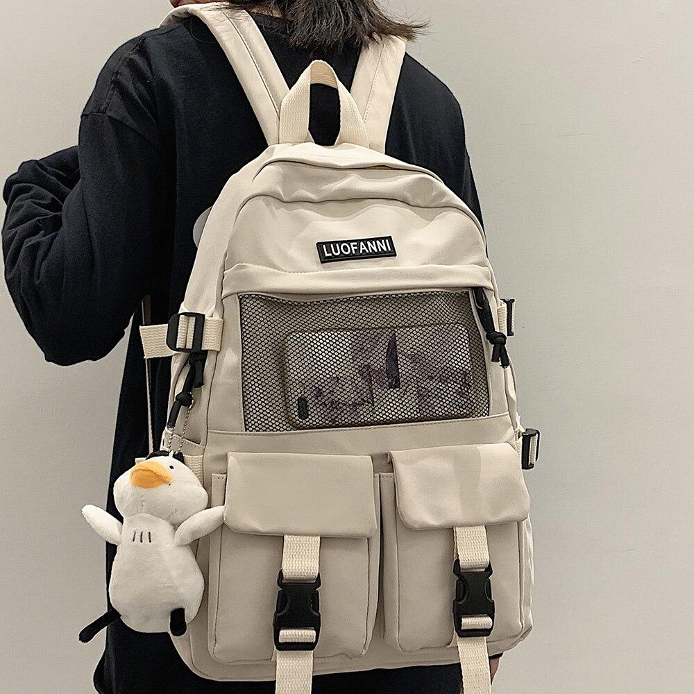 College Mesh Ladies Backpack Waterproof Female Fashion School Bag Laptop Student Girl Backpack Nylon Men Women Net Bag Book Male