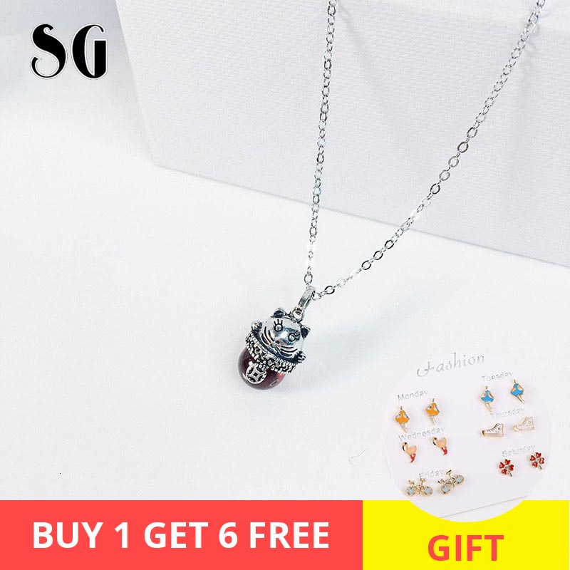 925 sterling lucky cat red stone animal vintage Necklace ethnic Thai silver pendant for women fashion jewelry gift 2019 Japan in Pendant Necklaces from Jewelry Accessories