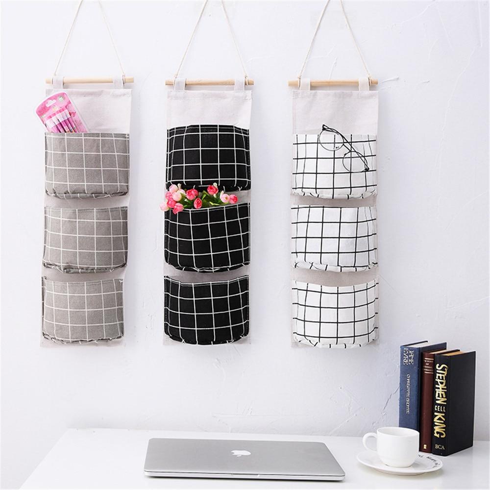 Creative 3 Pockets Wall Hanging Storage Bag Cotton Line Hanging Organizer Bag Sundries Toys Organizer Hang Bag Home Decoration