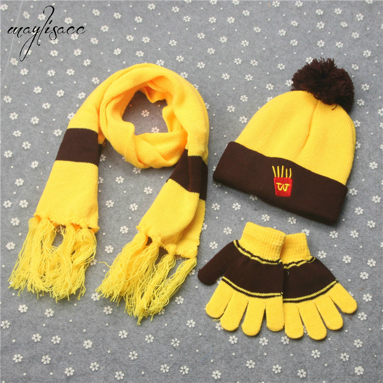 Maylisacc Autumn Winter Boy Girl Hat Scarve Gloves Set Cartoon Fashion Warm Winter French Fries Cola Burger Children 3 Pcs Sets