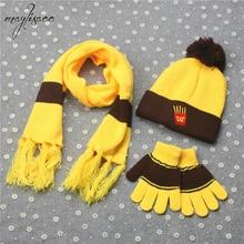 Maylisacc Autumn Winter Boy Girl Hat Scarve Gloves Set Cartoon Fashion Warm French Fries Cola Burger Children 3 Pcs Sets
