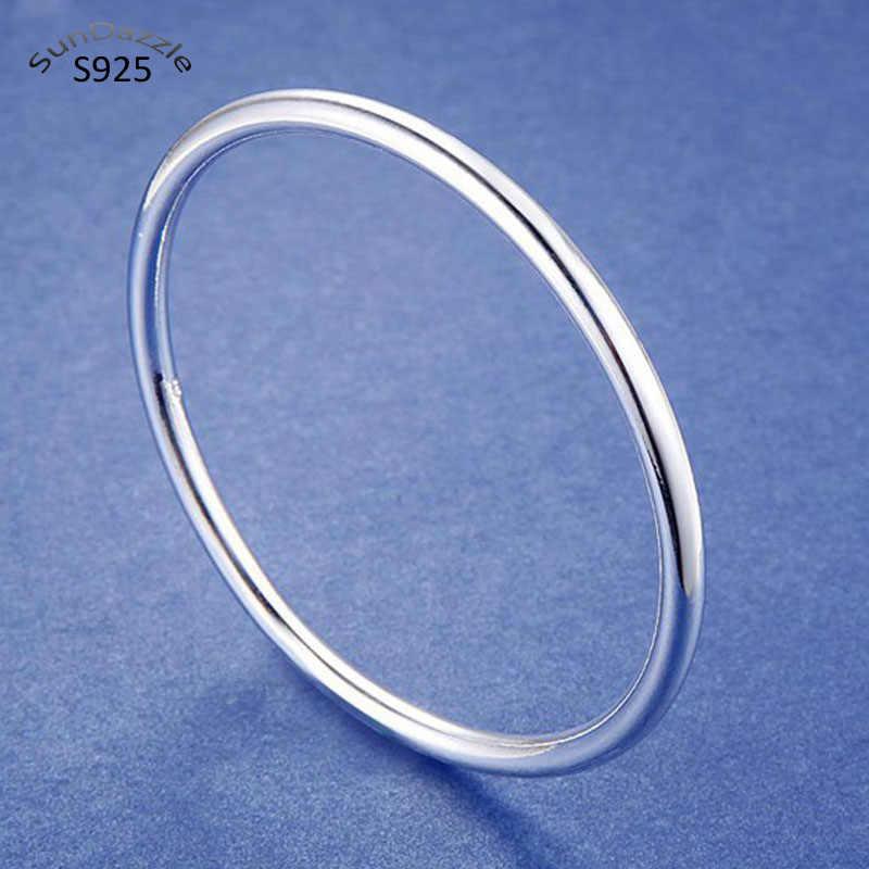 Exquisite Sterling Silver Stripe Cuff Bangle Bracelet Women Jewelry Gift