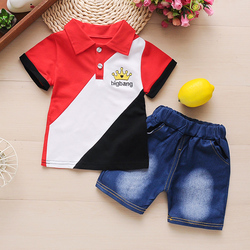 Bibicola طفل الفتيان الصيف مجموعة ملابس قصيرة الأكمام تي شيرت + السراويل 2 قطعة الملابس مجموعة عارضة القطن نمط جديد الفتيان الملابس