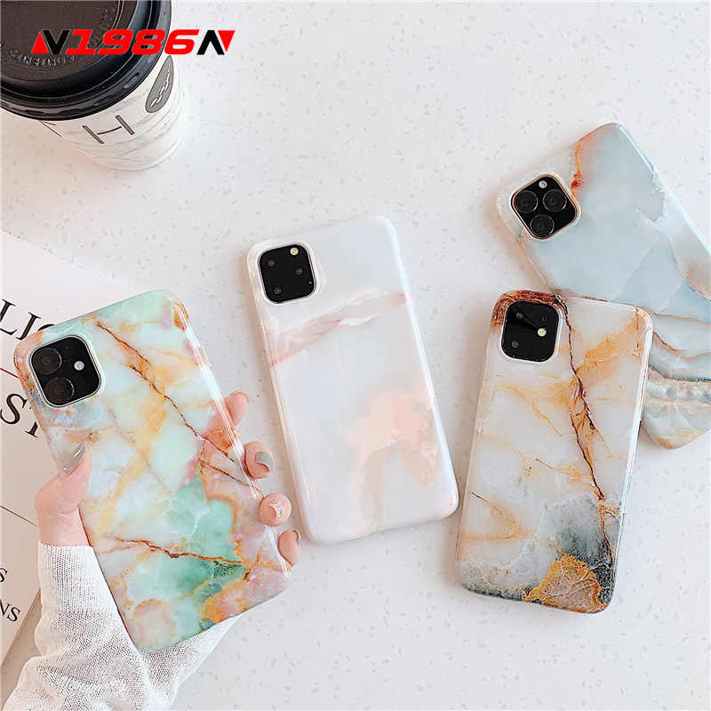N1986N Telefoon Case Voor iPhone X XR XS Max 11 11Pro Max 6 6s 7 8 Plus Mode Glad marmer Graniet Zachte IMD Voor iPhone 11 Case