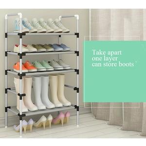 Image 4 - Range chaussures en métal facile à monter, étagère de rangement pour chaussures, baskets, support Portable peu encombrant, organiseur de chaussures avec main courante