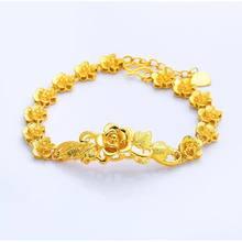 Mxgxfam flores douradas pulseira para mulher bradial jóias 24 k cor ouro puro projetos cassical