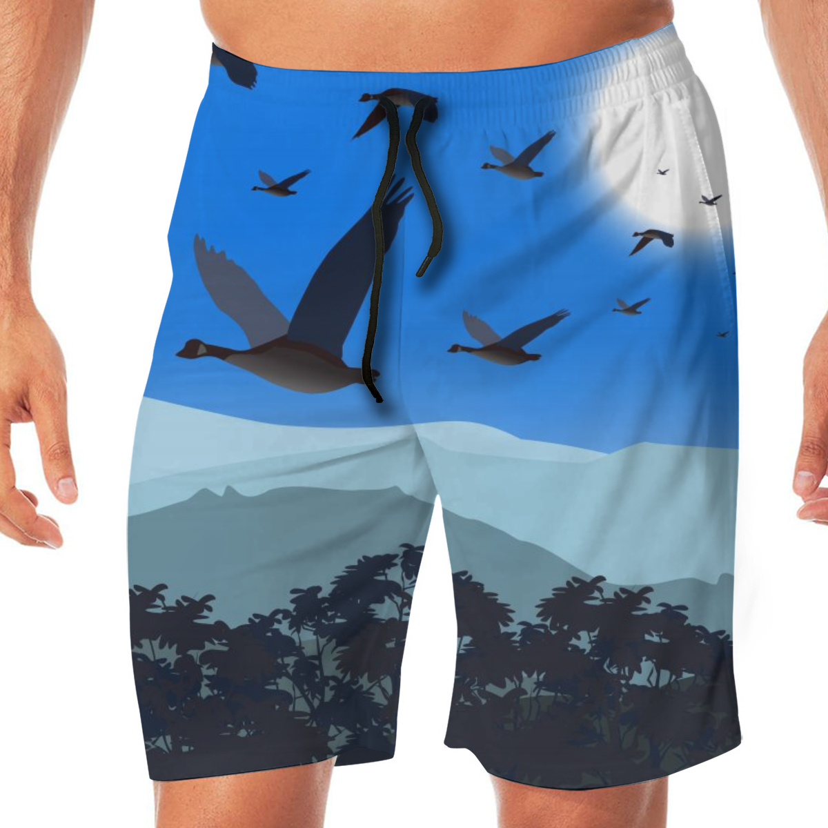 Summer Geese Flying Low Over Treetop On Cold Daynight Men Novelty Gay Funny Lounge Pants Beachwear