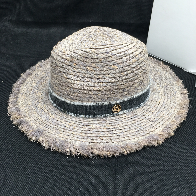 Sir Vacation seaside lafite grass hat sun hat foldable eaves beach cap gray