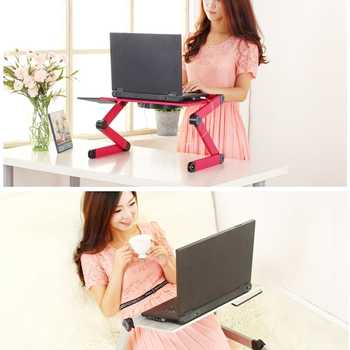 360 Degree adjustable laptop desk Aluminum Alloy foldable vertical desk Computer table with mouse Tray Laptop desk for sofa bed