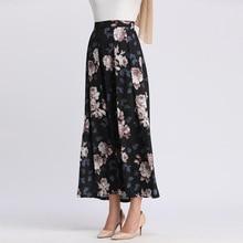 Islamic-Clothing Skirt Bottom Arab Long Fashion Dubai Chiffon Wear Maxi Floral-Print