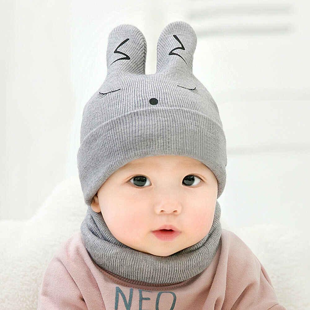Nowe dziecko maluch dzieci chłopiec dziewczyna zima ciepłe Casual dzianiny szydełka Beanie kapelusz czapka zestaw szalików niebieski szary czerwony