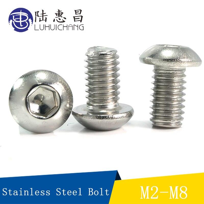 M2 M2.5 M3 A2 304 Stainless Allen Bolt Pan Round Button Head Socket Cap Screw