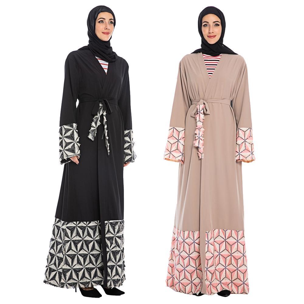 Women Long Maxi Dress Muslim Dubai Open Cardigan Kaftan Abaya Cocktail Dresses