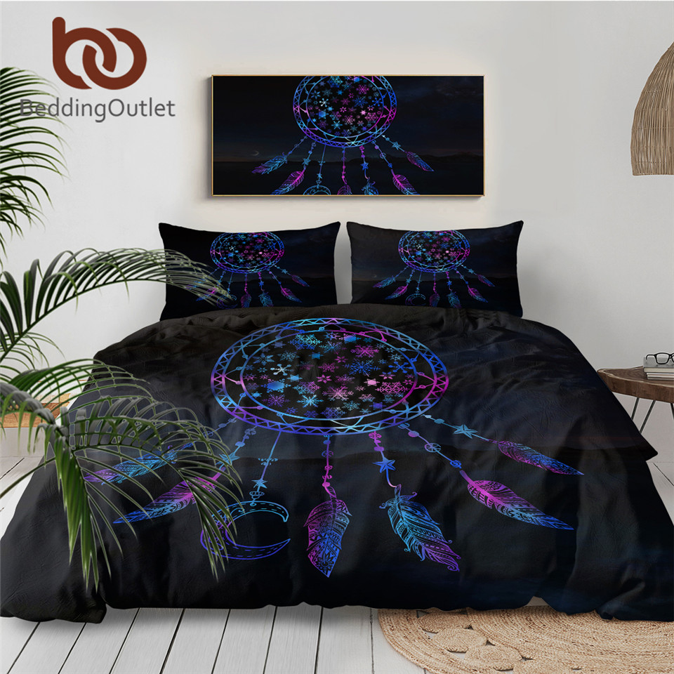 BeddingOutlet Snowflake Bedding Set Queen Dreamcatcher in the Night Duvet Cover Boho Feathers Bedclothes 3pcs Galaxy Bed Set 1