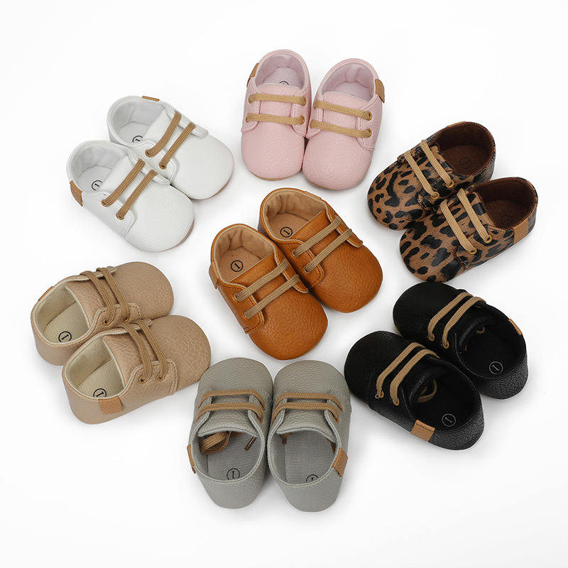 New Baby  Shoes PU Leather Shoes Sold Leopard Baby Boys And Girls Lace-Up Non-Slip Children's Soft Sole Toddler Shoes