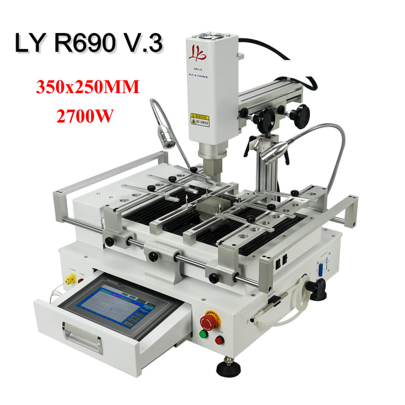 BGA Rework Station LY R690 V.3 New Version Solder Stations Hot Air Touch Screen 3 Zones 2700W 350X250MM IR Working Area