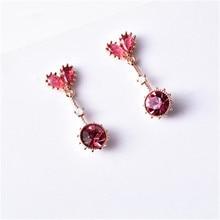 925 sterling silver Stud earrings Little red hearts love sweet girl Set auger Womens fashion jewelry