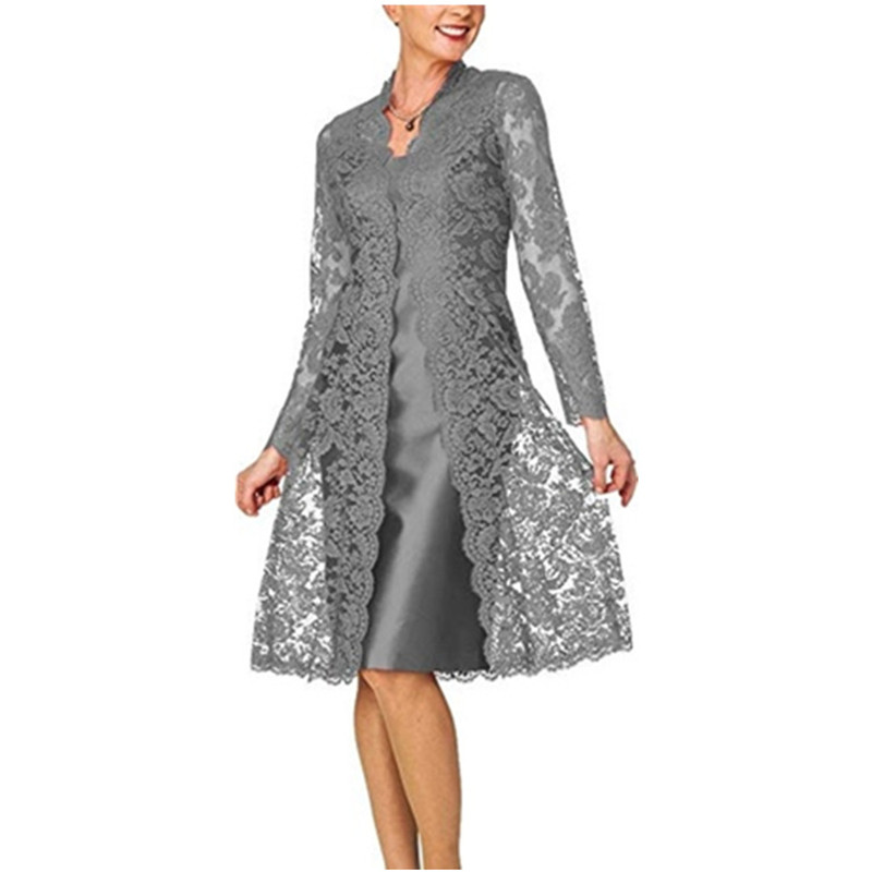 Dress Suits For Women Two Piece Set With Jacket Mother Of The Bride Dresses Long Sleeve Lace Plus Size Wedding Guest Robe 2019