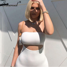 Simenual Bodycon Solid Women Mini Dress Hollow Out Strapless Sexy Hot Party Clubwear Fashion 2020 Summer Skinny Dress Wrap Chest