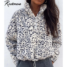 Rockmore leopardo peludas Sudadera Mujer, cremallera, cuello alto jerseys Streetwear Sudadera con capucha holgado Casual sudaderas otoño