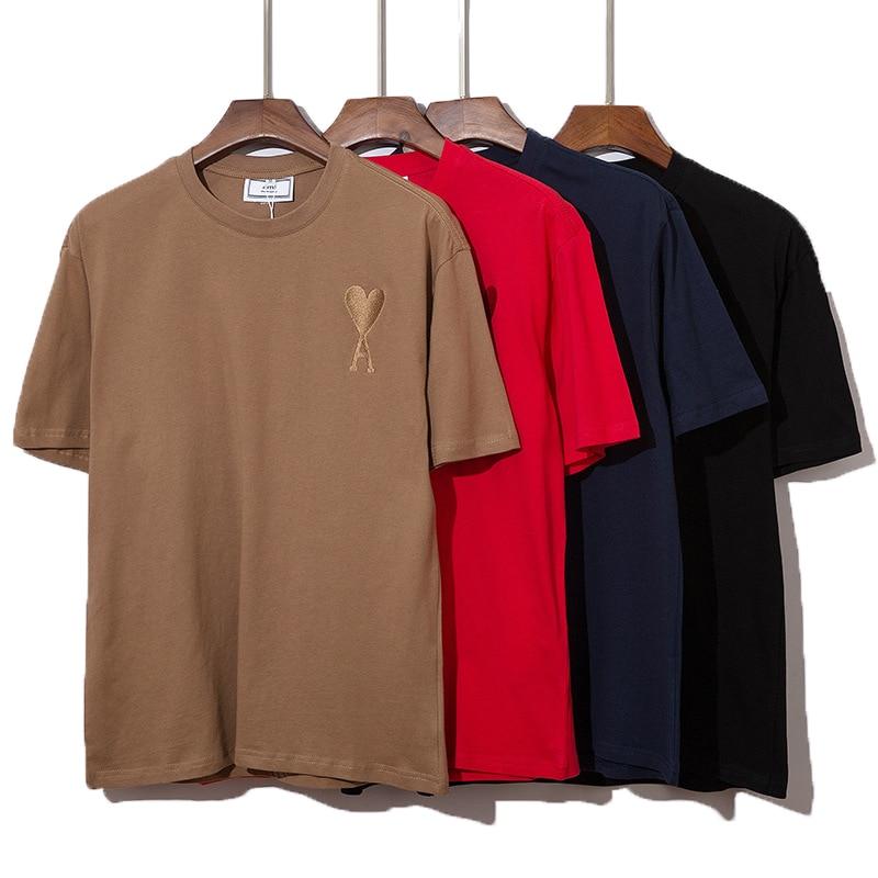 2021 verão de alta qualidade algodão de manga curta camiseta moda masculina e feminina casual solto oversize camiseta ami