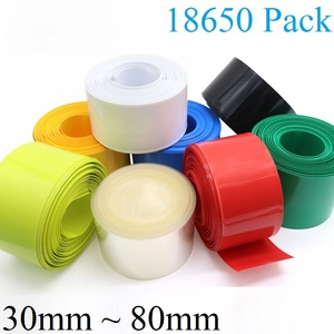 2M/5M 18650 Battery Film Wrap 30mm ~ 80mm Width PVC Heat Shrink Tube Cover Pack Insulated lithium Case Cable Sleeve Blue Black(China)
